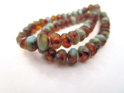 Amber blue picasso 5x3mm faceted rondelle czech glass beads