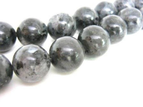 Larvikite beads 14mm round gemstone spectrolite