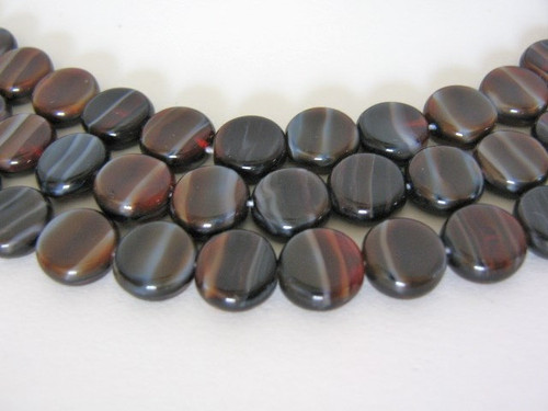 Red white black 8mm coin Czech glass beads