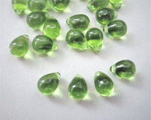 Olivine green 6x9mm top drilled teardrop Czech glass beads
