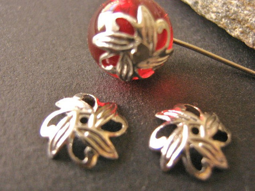Filigree leaf bead cap 10mm silver tone finish