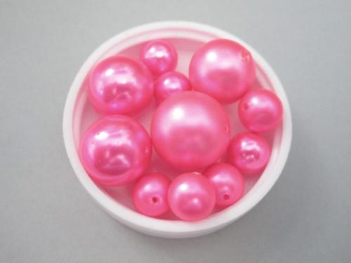 Pink round vintage plastic pearl beads