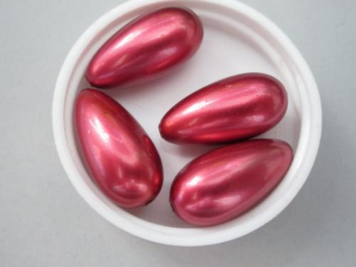 Red 13x26mm Teardrop Vintage Plastic Pearl Beads
