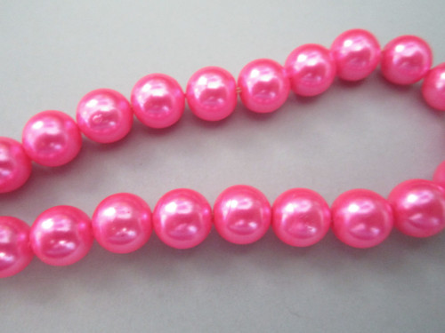 Pink 10mm round vintage plastic pearl beads