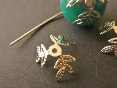 Leaf bead caps 12mm - 15mm flower silver tone finish