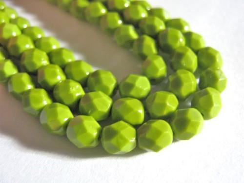 Opaque green 6mm faceted round Czech glass beads
