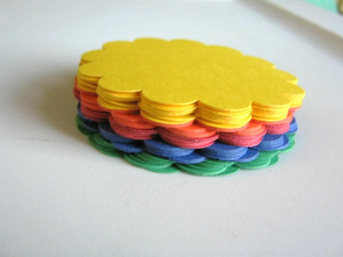 60pc Scallop Circle Die Cut 2.5 Inch Round Cut Outs Yellow Orange Green Blue Red Scrapbook Ready to Ship