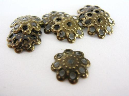 Filigree bead cap 10mm flower antique bronze finish