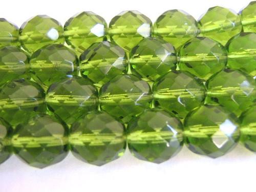 Green 12mm faceted round Czech glass beads