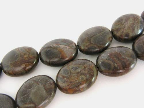 Chrysanthemum 16x21mm flat oval gemstone beads
