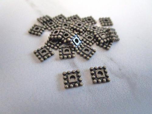 Metal square spacer beads 7mm antique bronze finish