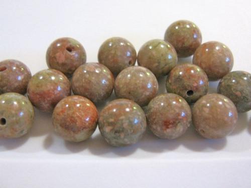 Autumn jasper 12mm round gemstone bead