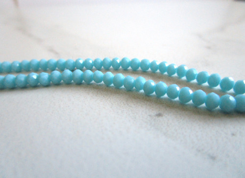 Opaque blue 4x3mm faceted rondelle crystal glass beads
