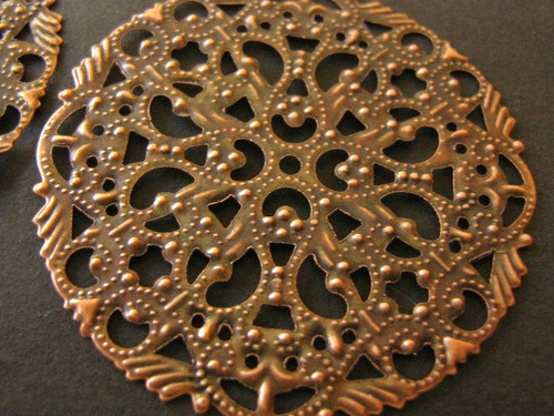 Round filigree stamping 44mm antique copper finish