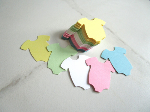 Baby Bodysuit Die Cuts 1.5 Inch Onsie Cut Out Pink Blue Yellow White Green Scrapbook 60pc