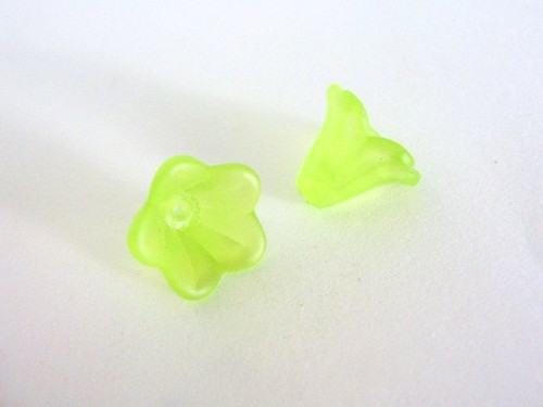 Yellow green 15x10mm bell flower acrylic bead