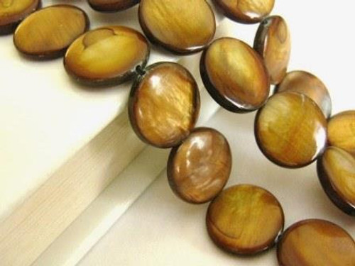 Brown 15mm coin shell beads