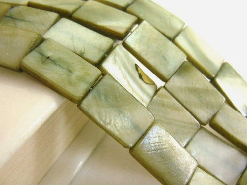 Green 10x15mm rectangle shell beads
