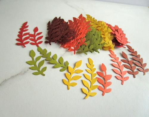 Brown green orange yellow fern leaf die cuts