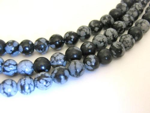 Snowflake obsidian 6mm round gemstone beads
