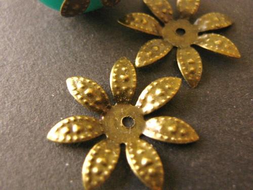 Spike flower bead caps 17mm antique bronze finish
