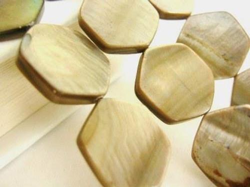 Brown 18mm hexagon shell beads