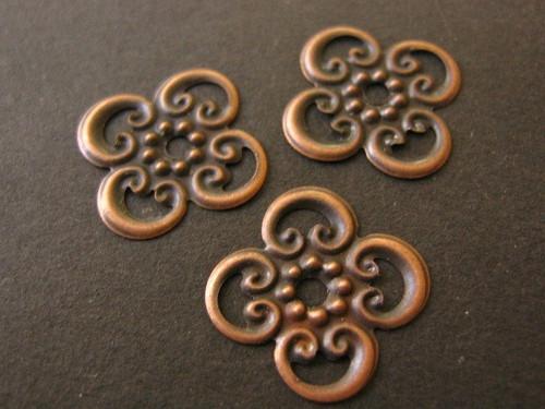 Filigree stamping 13mm bead cap antique copper finish