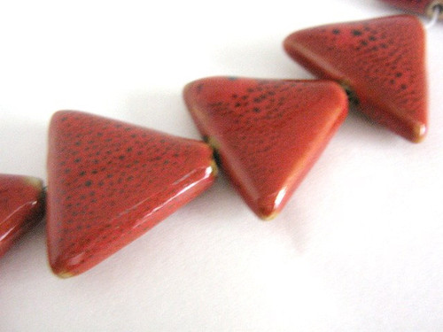 Red Brown 26mm Triangle Porcelain Beads