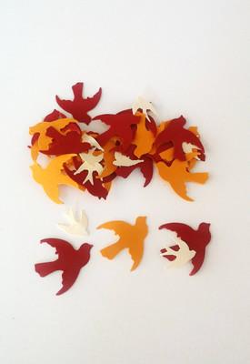 328 Dove Confetti, 1 Inch and 5/8 Inch, Bird Die Cuts, Orange Red Cream Cut Outs, Wedding Table Decor, Ready to Ship