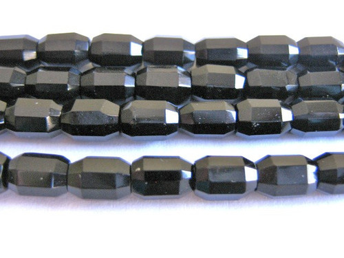 Black faceted oval Czech glass beads
