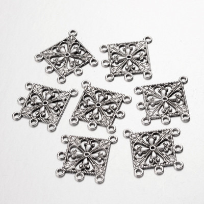 Flower chandelier earring setting 33x37mm antique silver finish