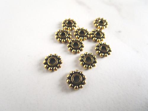 Daisy spacer beads 7mm antique golden metal