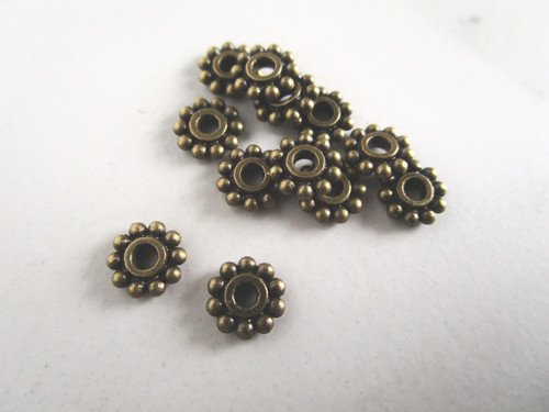 Daisy spacer beads 7mm antique bronze metal