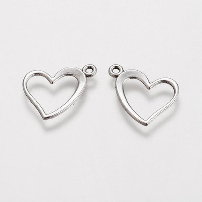 Heart charm 13x15mm anitque silver finish