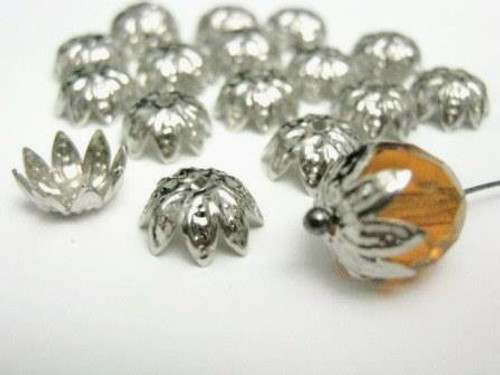 Spike flower 10mm bead caps silver tone finish