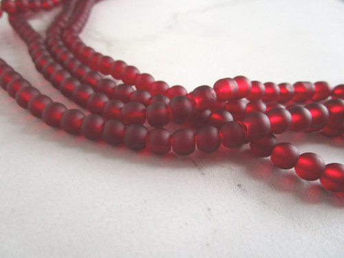 Frosted red 6mm round sea glass beads