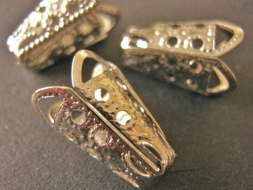Silver tone bead caps filigree cone 10x16mm
