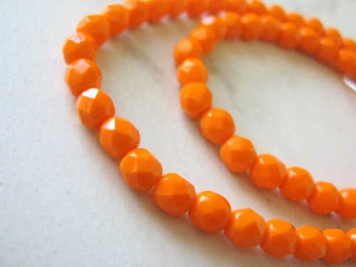 Opaque orange 6mm round Czech glass beads