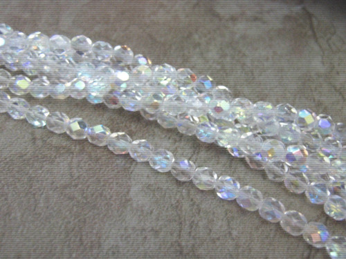 Clear ab 6mm faceted round czech glass bead