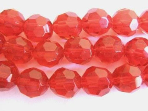 Red 12mm faceted round glass bead