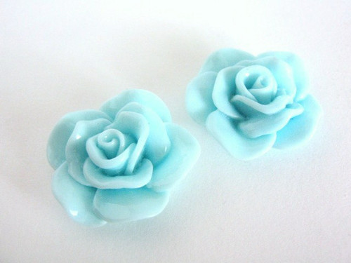Blue 30mm flower cabochon