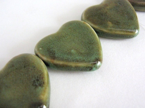 Honey green 32x30mm heart porcelain bead