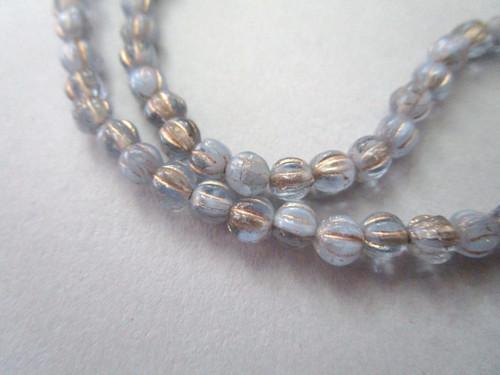 Blue 5mm melon czech glass beads