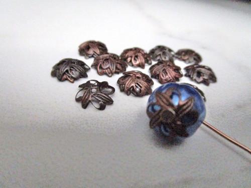 10mm filigree leaf bead caps