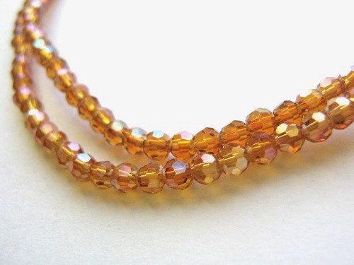 Orange ab 3mm faceted round glass beads