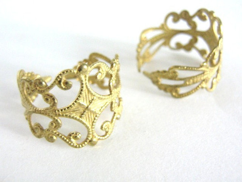 Brass filigree ring blank