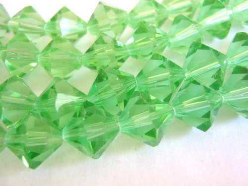 Green glass beads 12mm bicone