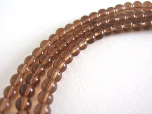 Brown glass beads 4mm round