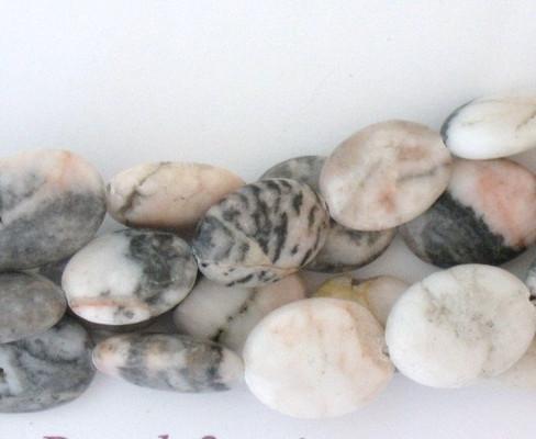 pink zebra jasper flat oval gemstone beads