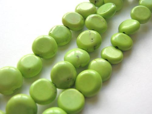 Green howlite 10mm coin gemstone bead